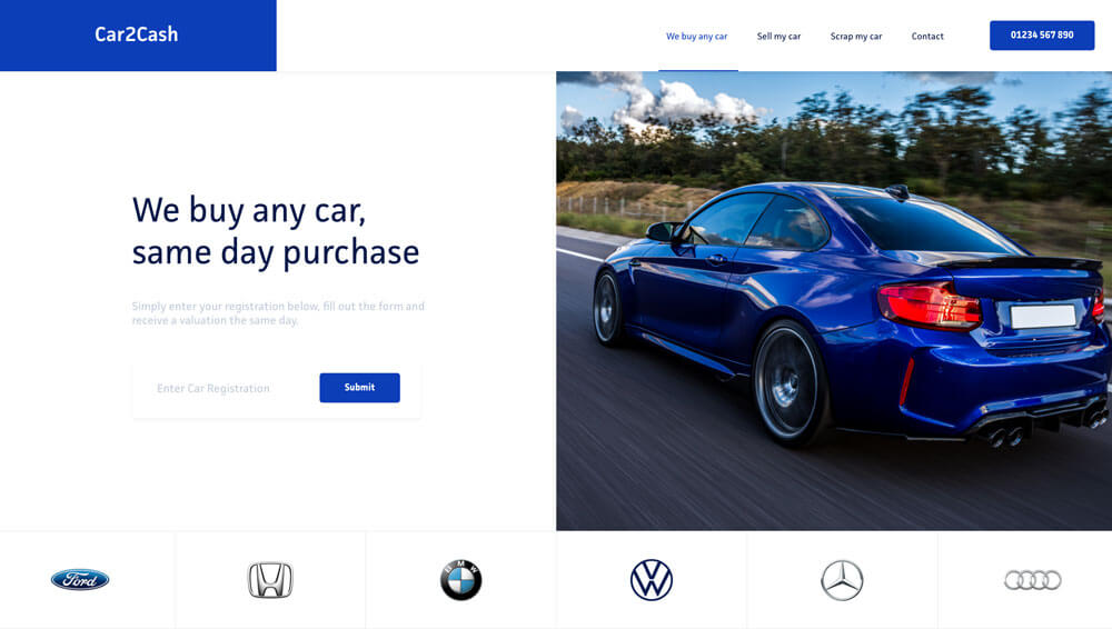 Car2Cash Freelance Web Designer Project
